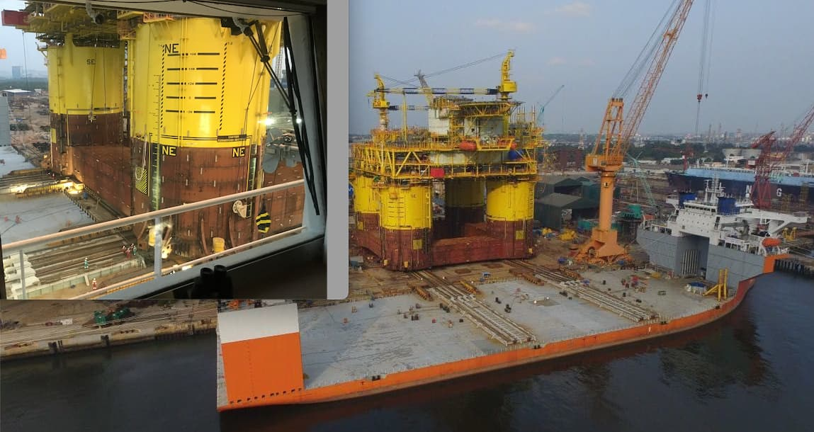 Skidded load out on a semisubmersible heavy lift vessel